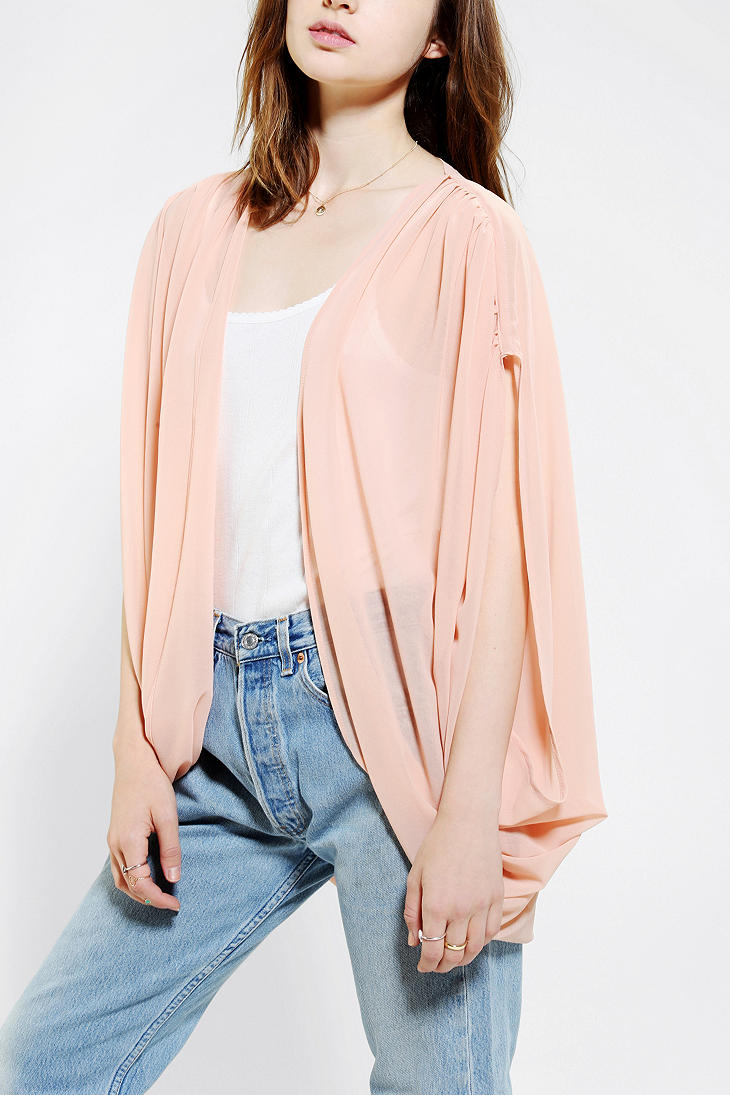 Urban outfitters Pins and Needles Chiffon Cocoon Cardigan in Pink ...
