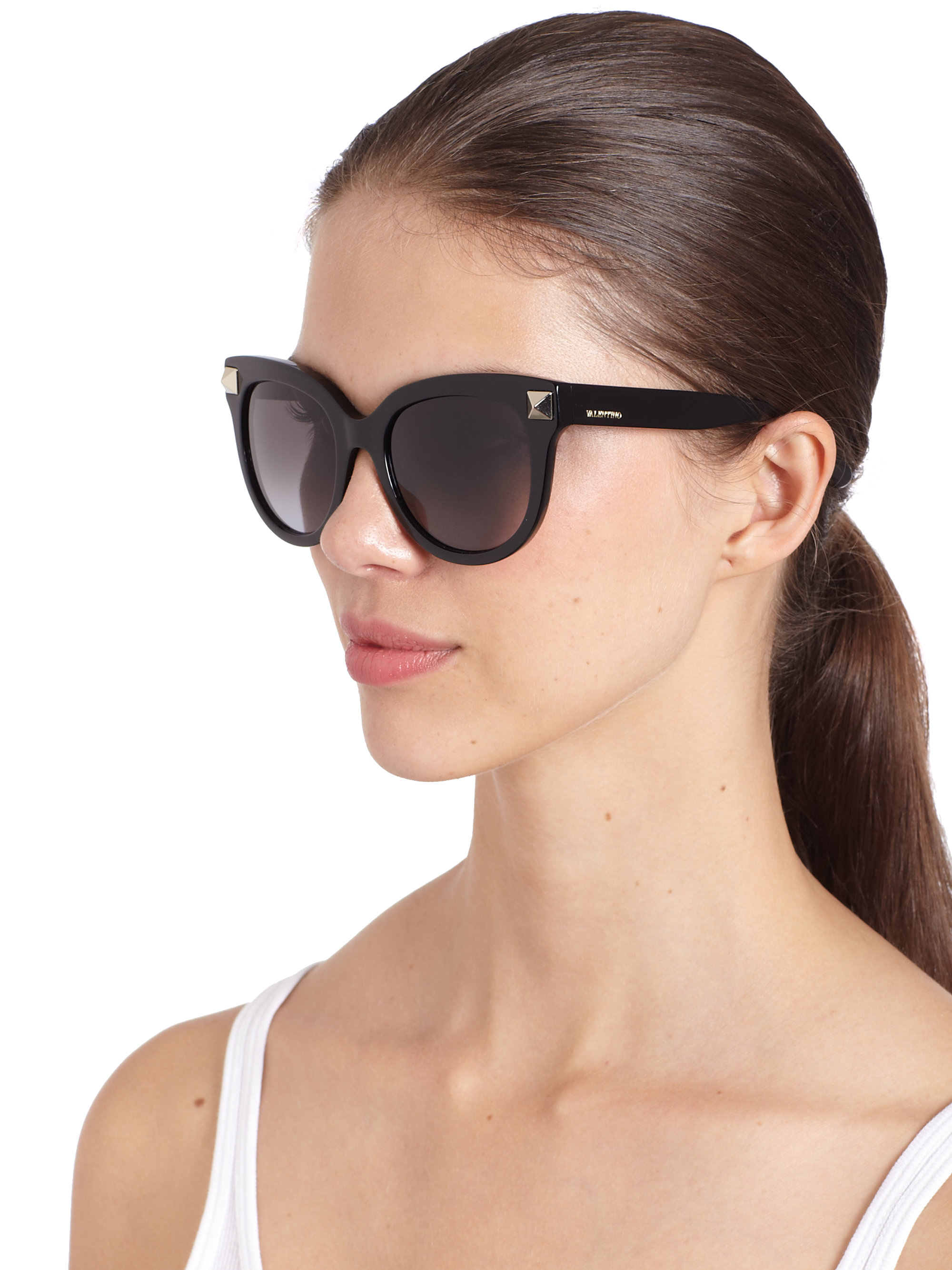 Valentino Oversized Round Stud Sunglasses In Black Lyst