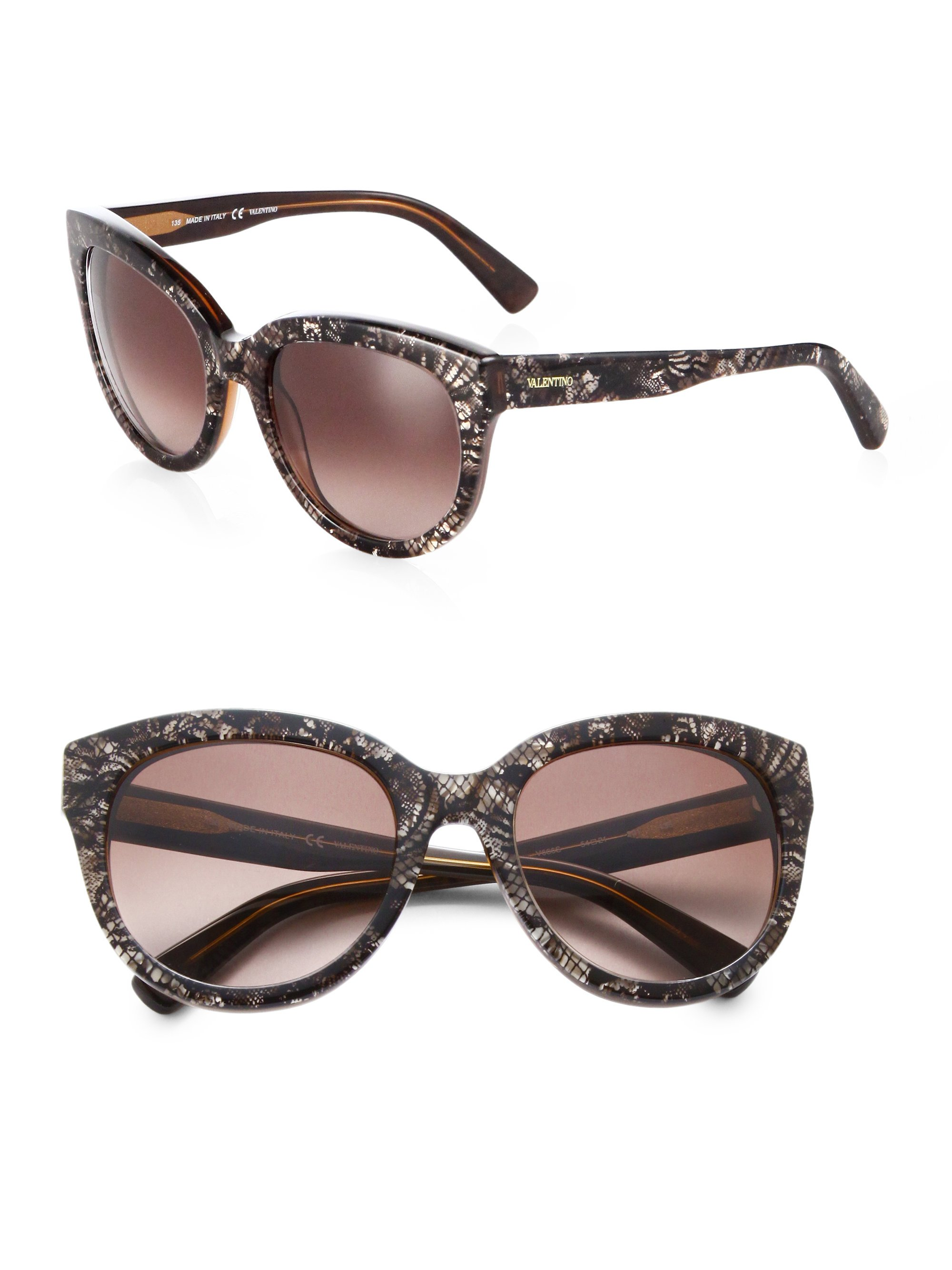 b142575292 Lyst - Valentino Oversized Cat S-Eye Plastic Lace Sunglasses in Black