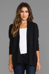 Vince Long Sleeve Ribbed Cardigan in Charcoal - Lyst