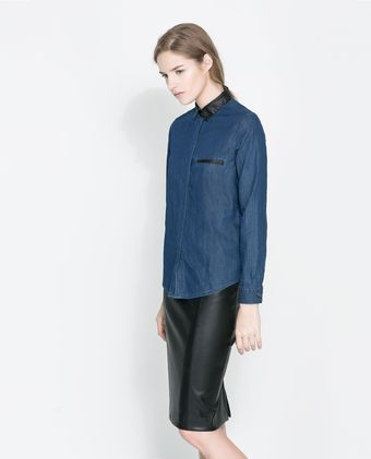 Zara Denim Shirt with Faux Leather Collar - Lyst