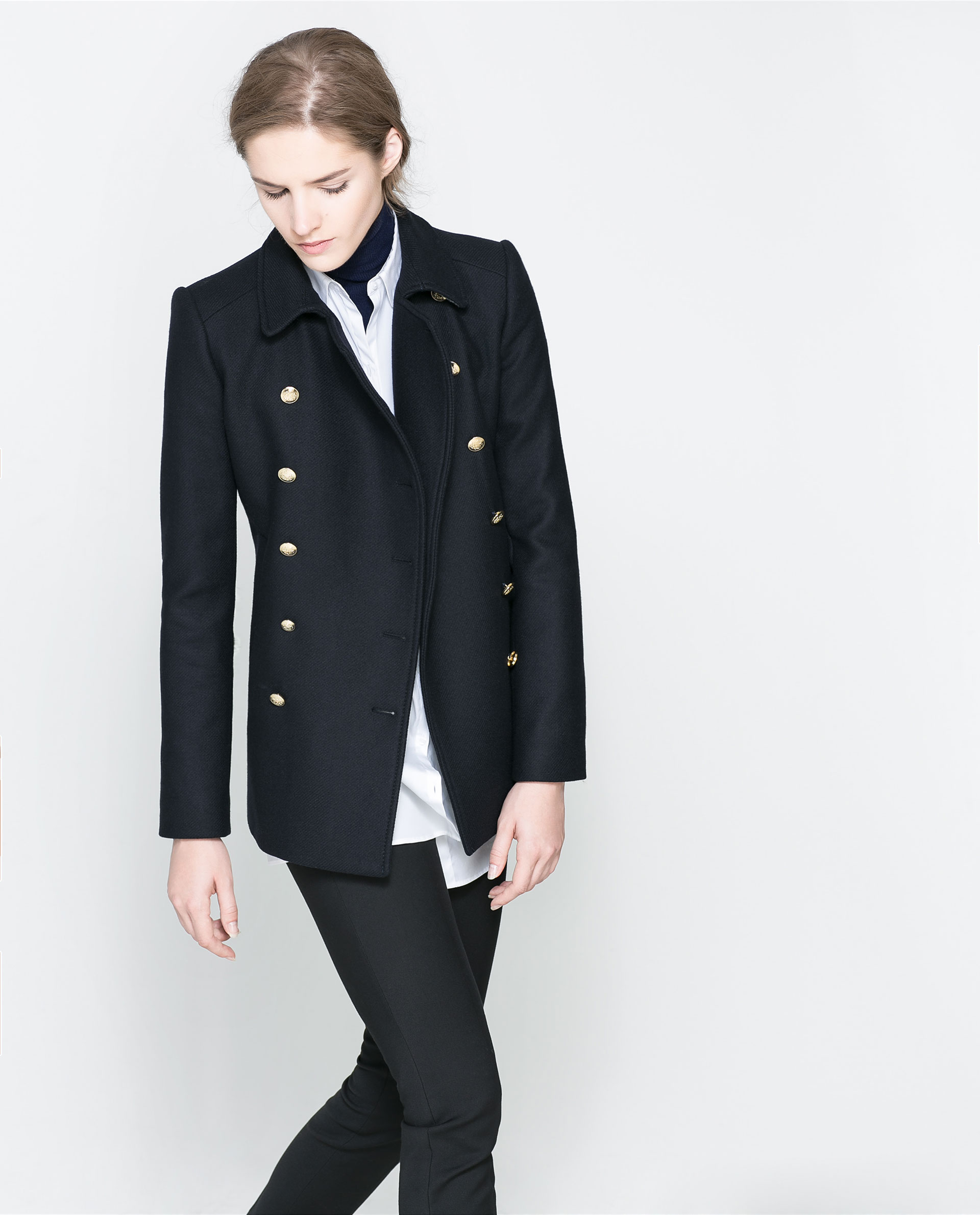 Zara Short Coat with Metallic Button in Blue | Lyst