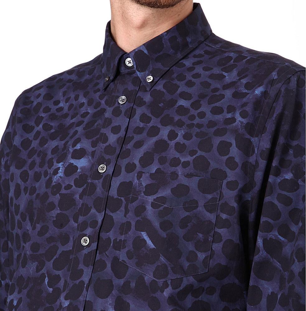 Acne Studios Isherwood Animal Print Shirt In Blue For Men Lyst