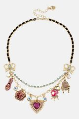 Betsey Johnson Imperial Frontal Charm Necklace - Lyst