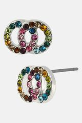 Betsey Johnson Girlie Interlocking Circle Stud Earrings - Lyst