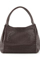 Bottega Veneta Parachute Intrecciato Shoulder Tote Bag Dark Brown - Lyst