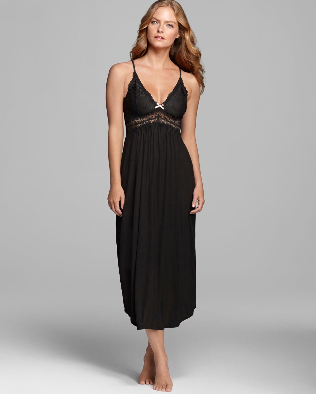Lyst Eberjey Collette Long Nightgown In Black