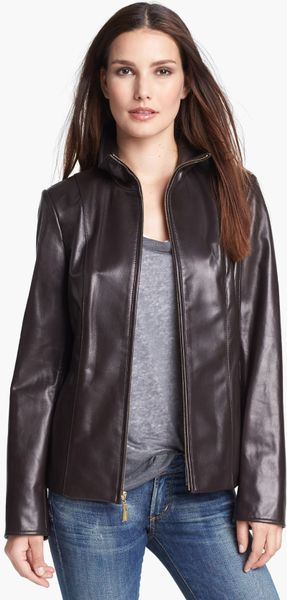Ellen Tracy Leather Scuba Jacket in Brown