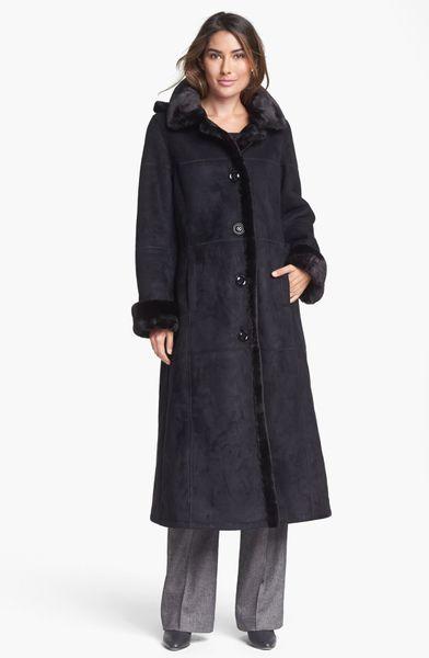 Gallery Long Faux Shearling Coat in Black   Lyst