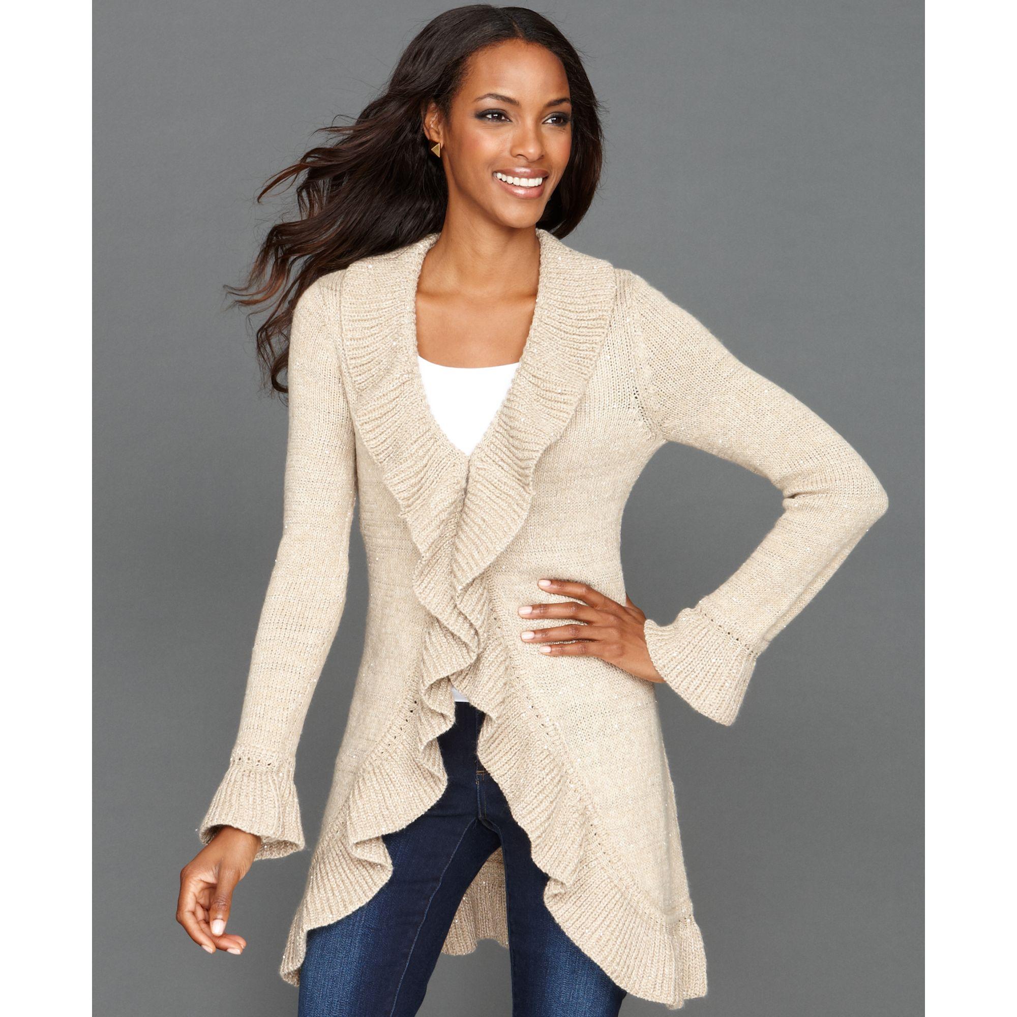 Inc international concepts Long Sleeve Sequin Knit Ruffle Cardigan ...