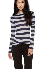James Perse Tucked Stripe Top - Lyst