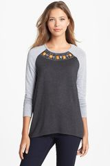 Kensie Embellished French Terry Top - Lyst