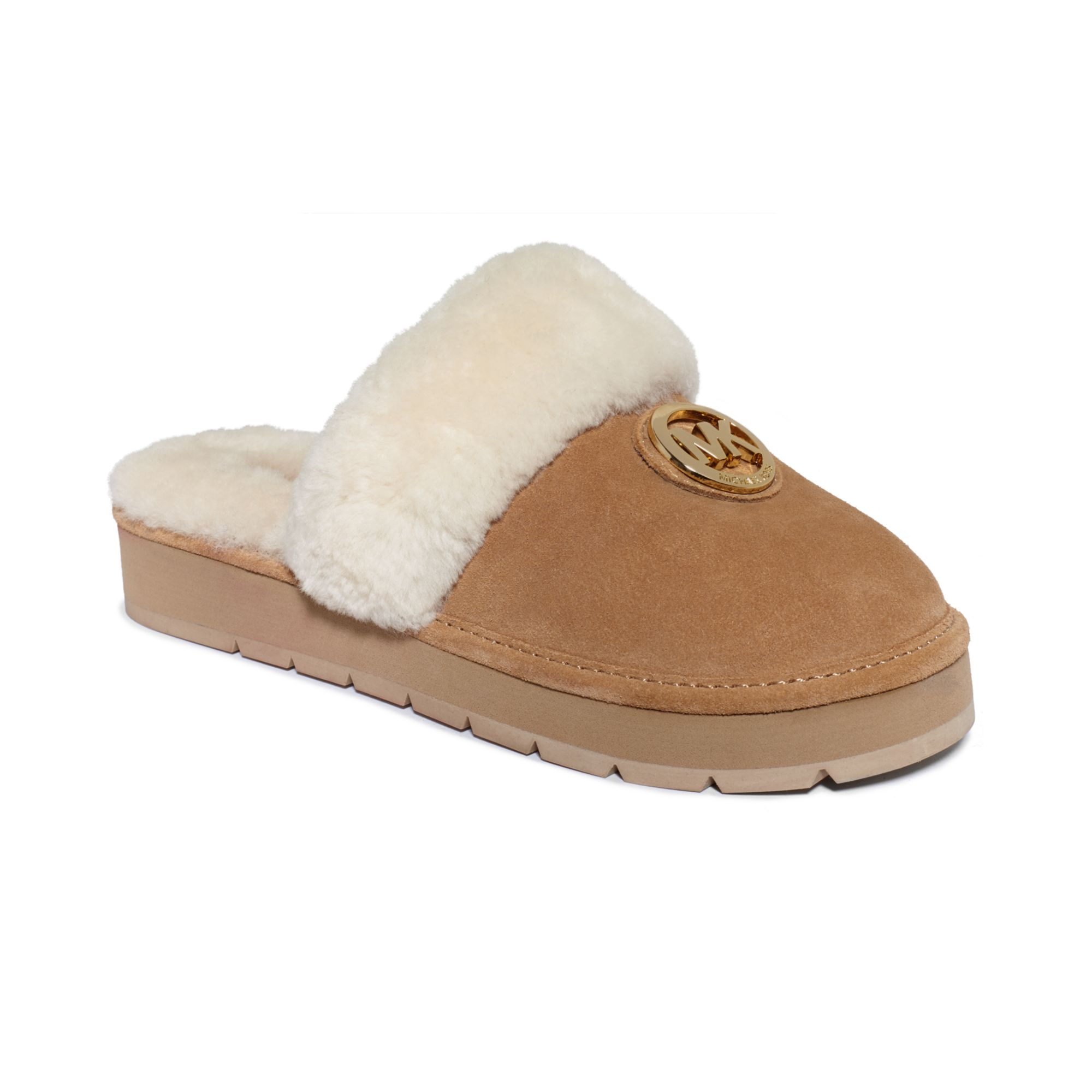 Michael Kors Winter Fur Slippers in Brown (Walnut Suede/Shearling) | Lyst