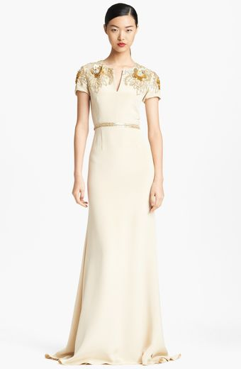Naeem Khan Short Sleeve Hand Embroidered Silk Gown - Lyst