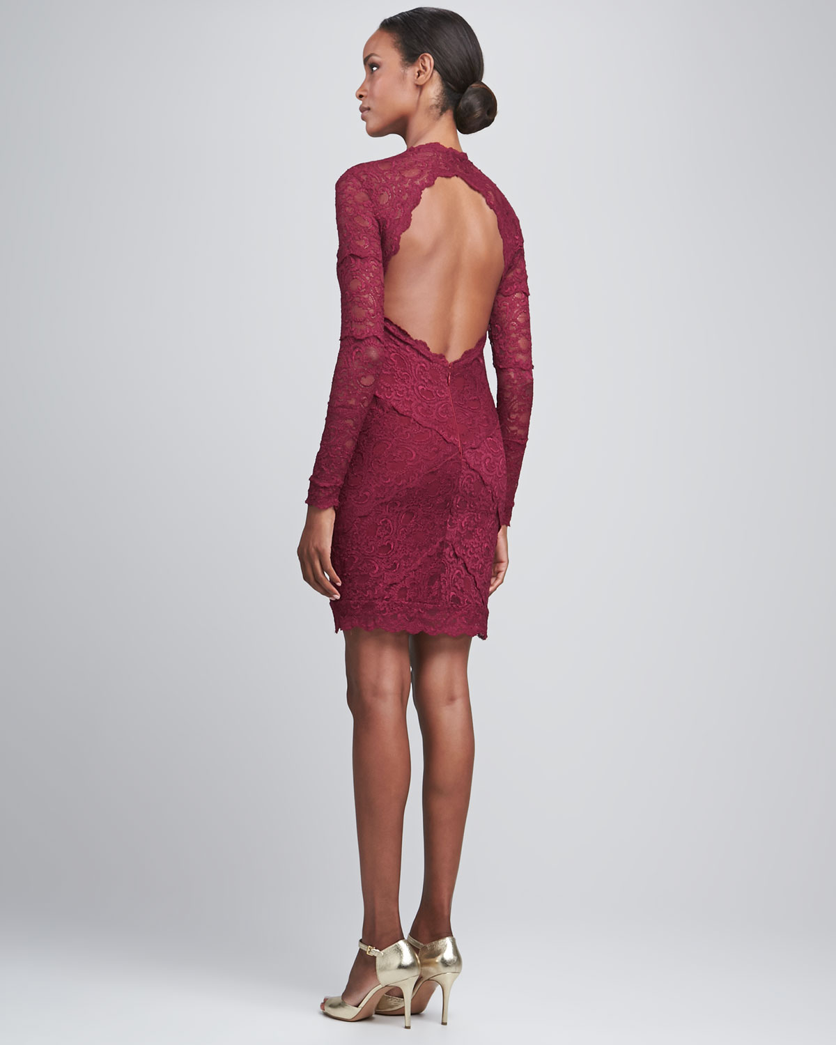 Nicole miller Longsleeve Openback Lace Cocktail Dress in Red  Lyst