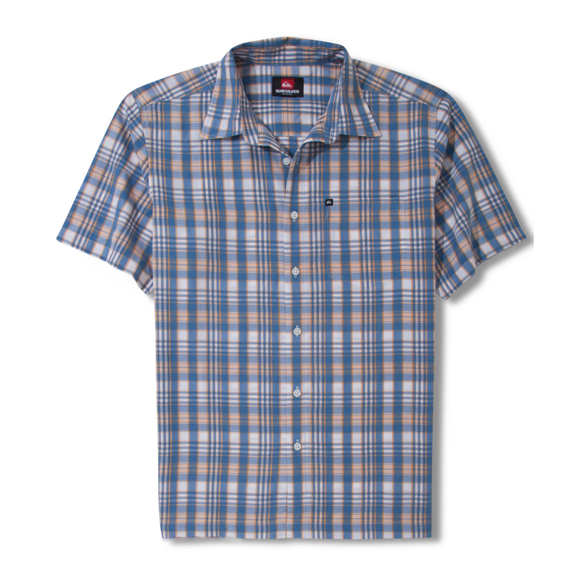 Quiksilver anchor rope short sleeve plaid shirt in blue Short sleeve plaid shirts