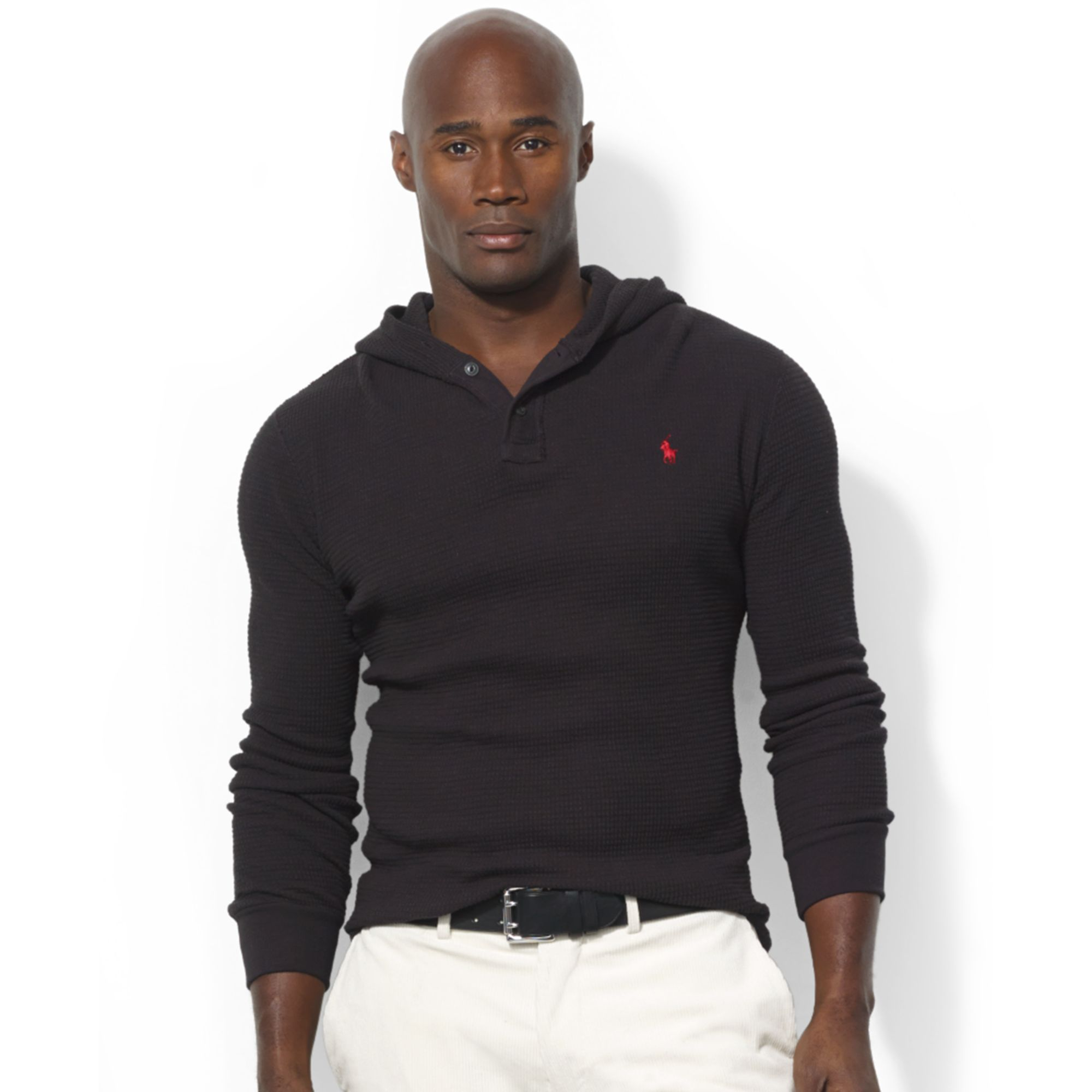 Ralph lauren Long Sleeve Waffleknit Cotton Hoodie in Black for Men (Polo Black) | Lyst