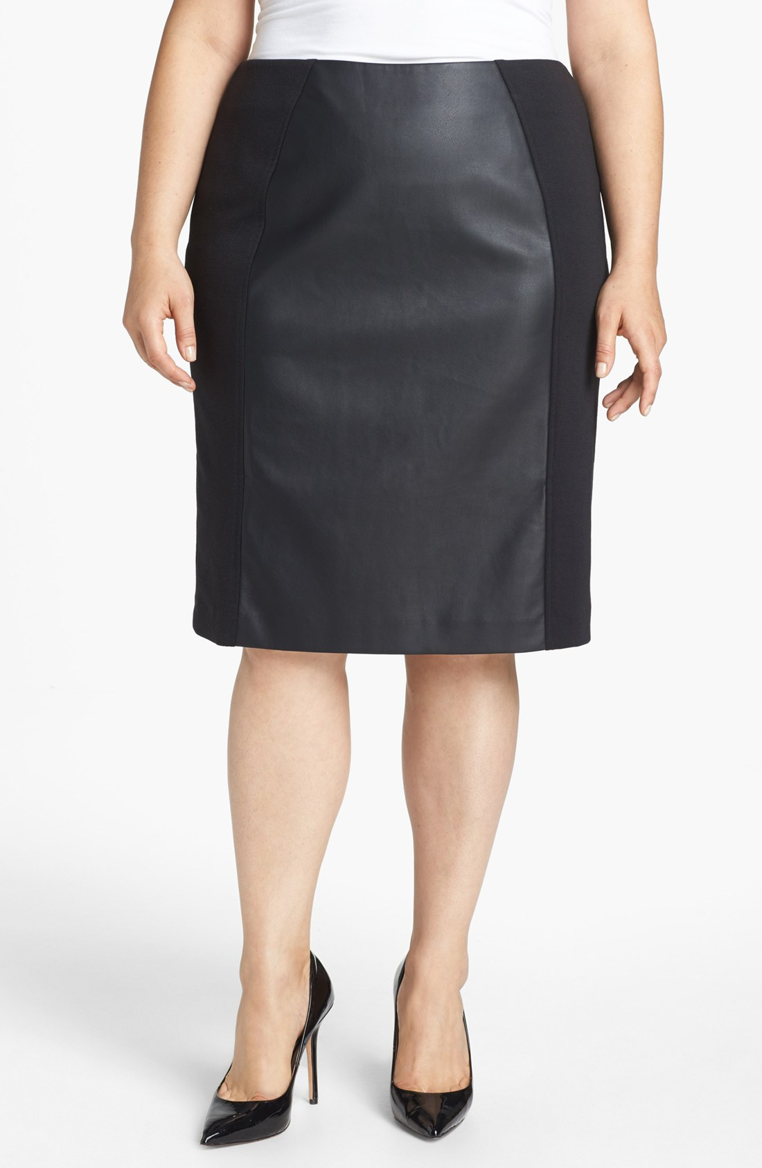 sejour faux leather ponte knit pencil skirt in black lyst