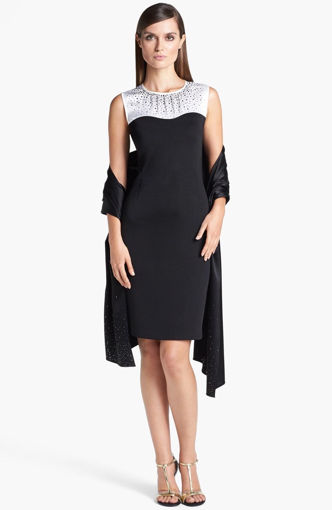 f6e010020a12 Details about St. John Collection Satin Yoke Milano Knit Sheath Dress (  Size 6)