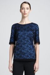 St. John Collection Floral Lace Jewelneck Top Caviarblue - Lyst