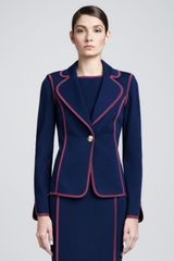 St. John Collection Milano Fitted Blazer Marine Blue - Lyst