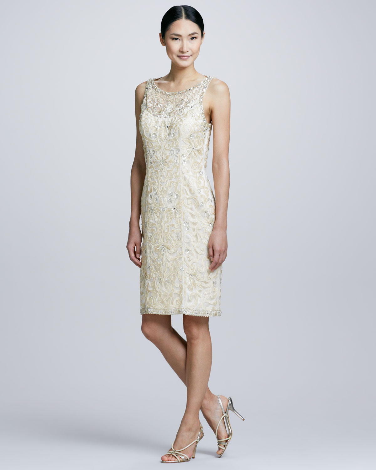 Sue Wong Openback Beaded Cocktail Dress In Gold (CHAMPAGNE