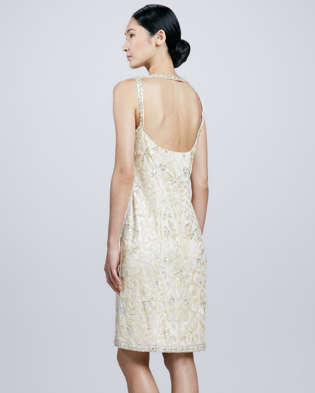 Sue wong Openback Beaded Cocktail Dress in Metallic | Lyst