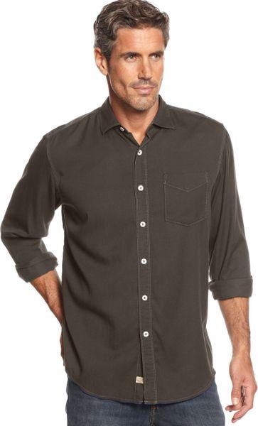 Tommy bahama longsleeve still twillin shirt in brown for for Tommy bahama long sleeve dress shirts