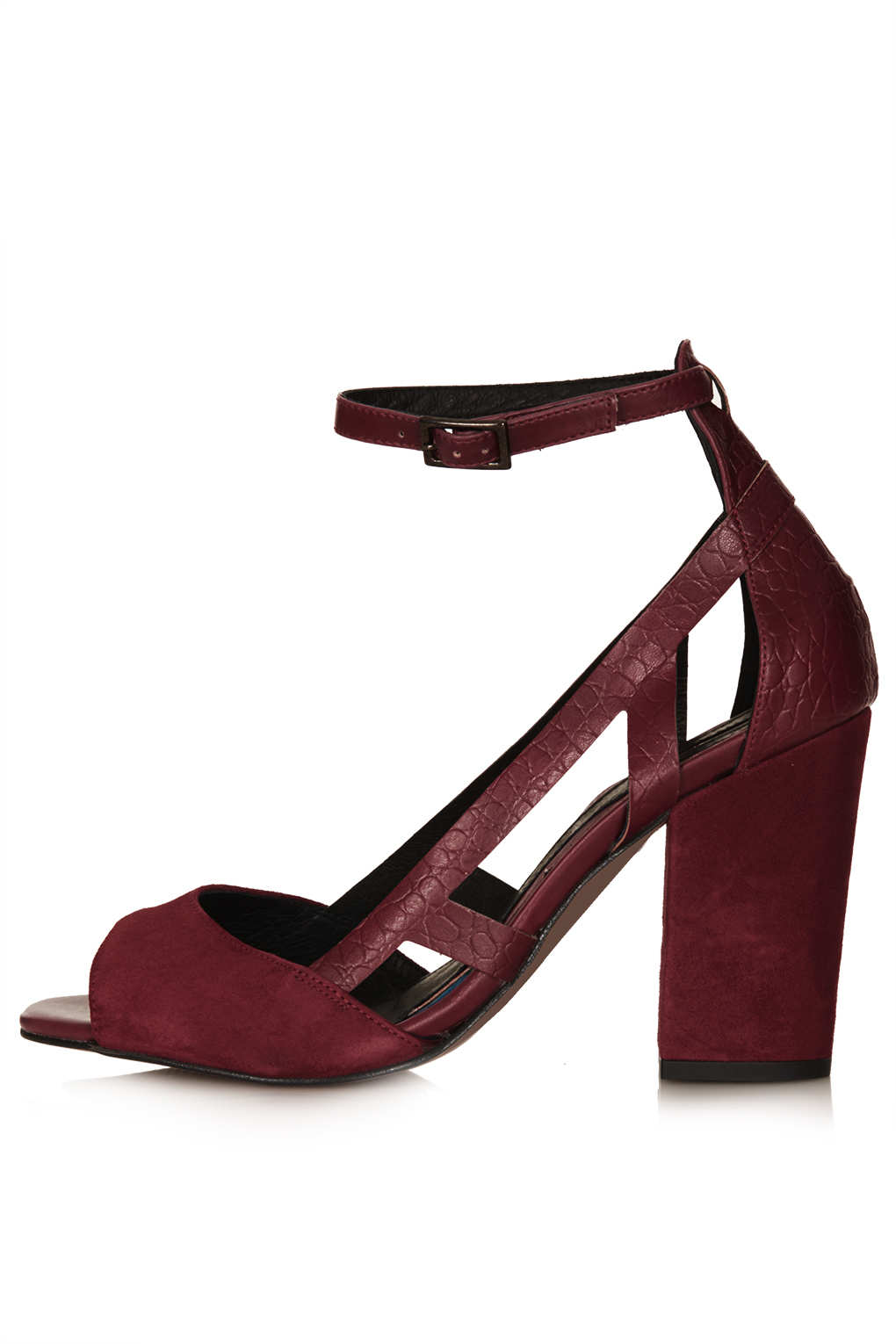 Topshop Goal Block Heel Cut Out Shoes In Red Burgundy Lyst