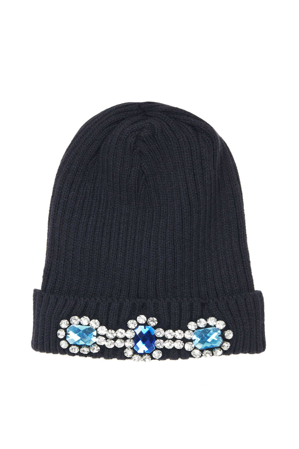 783946a7a22 Lyst - Topshop Heavy Embellished Beanie in Blue