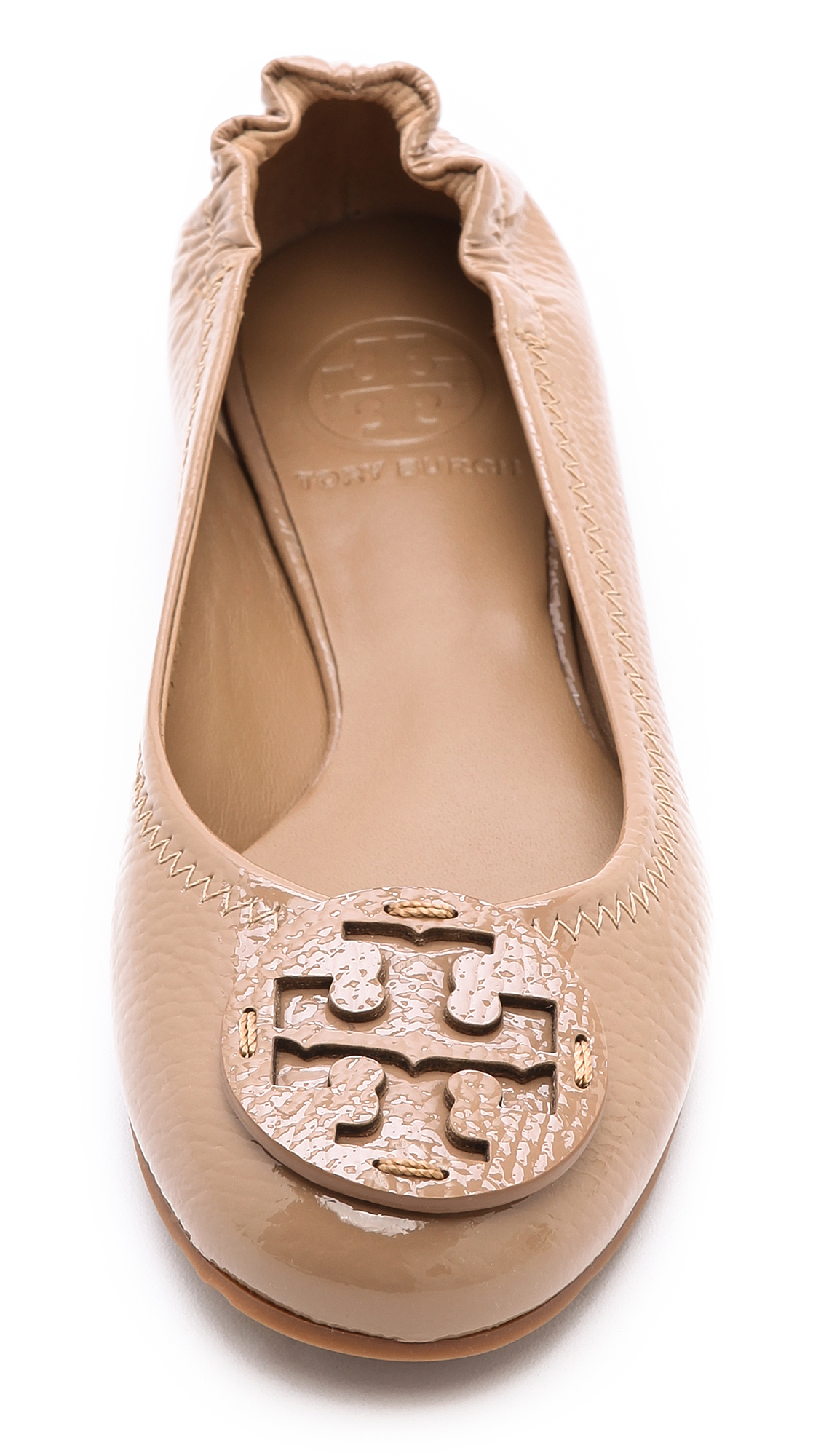 63f7f21c5a50 ... ballet flats printed leather gabriella floral new ivory 27845 fa722   usa lyst tory burch reva flats in natural 1f594 4766d