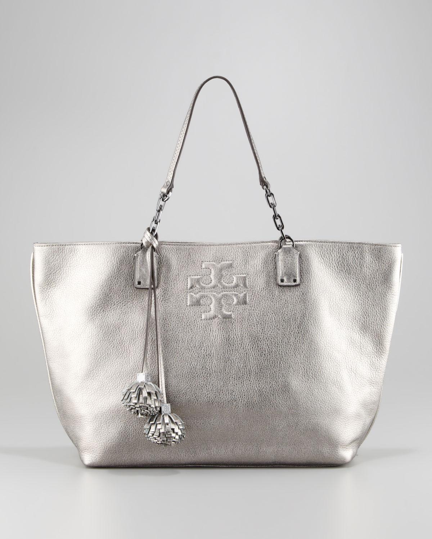 b6aedeaf6fa79 Lyst - Tory Burch Thea Leather Metallic Tote Bag Gunmetal in Metallic