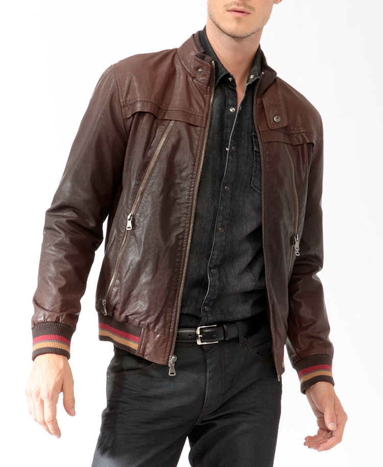 Distressed Brown Leather Jackets For Men - Jacket