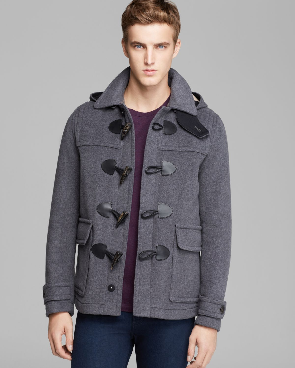 Burberry Brit Burwood Toggle Coat in Gray for Men | Lyst