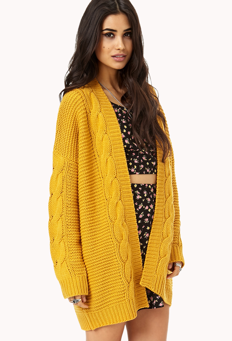 Forever 21 Longline Mixed Knit Cardigan in Yellow | Lyst