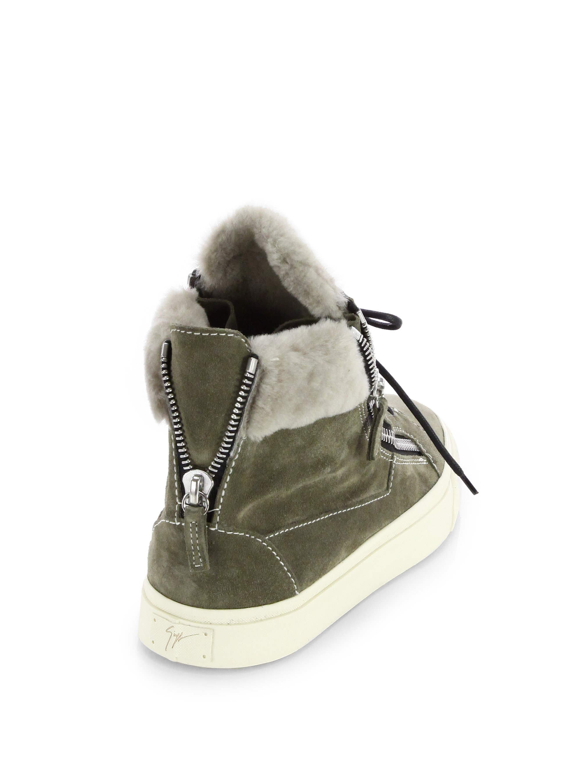 Giuseppe Zanotti Suede Mid Top Double Zip Sneakers FbhIT7A