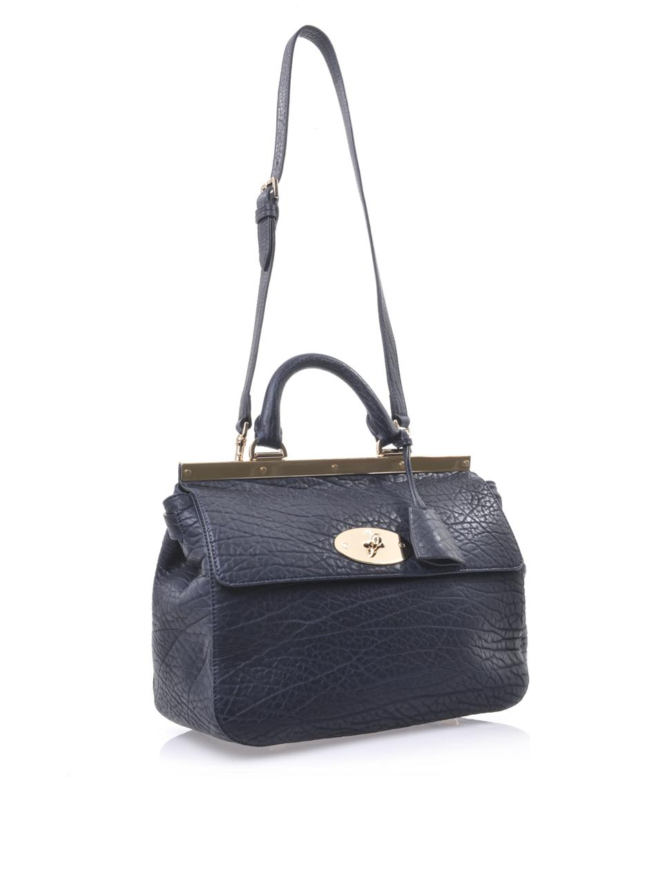 52a7fc503ec7 Lyst - Mulberry Suffolk Shrunken Leather Bag in Blue