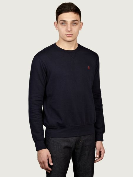polo ralph lauren mens crew neck sweatshirt in blue for. Black Bedroom Furniture Sets. Home Design Ideas