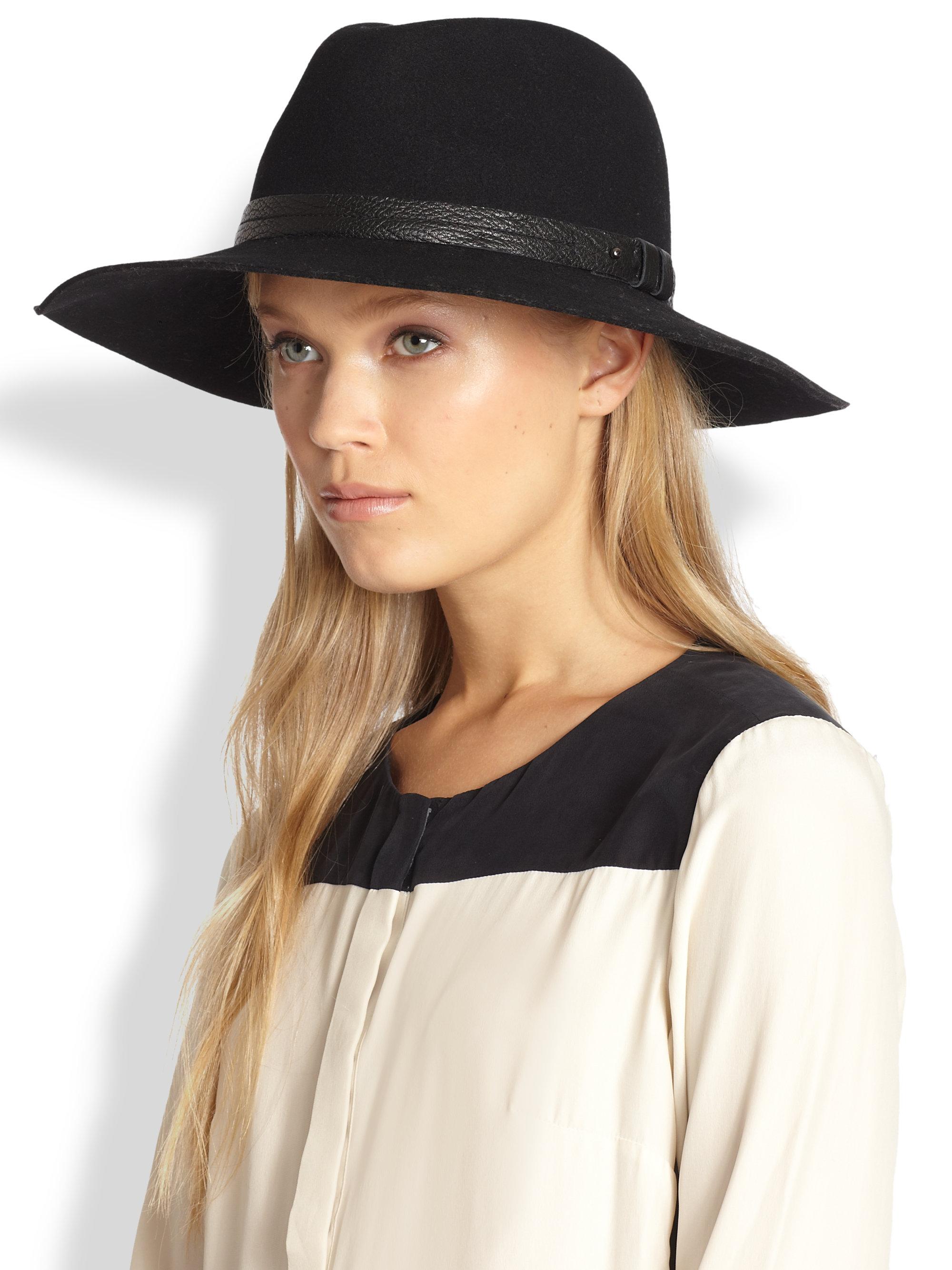 ff728a32ee0817 Rag & Bone Leather Trimmed Wool Fedora in Black - Lyst