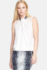 Robert Rodriguez Embellished Collar Stretch Silk Top - Lyst