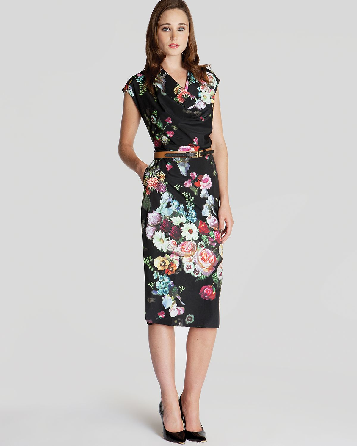 Lyst Ted Baker Dress Robyne Oil Painting Print In Black