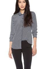 Theory Cully Chevron Silk Blouse - Lyst