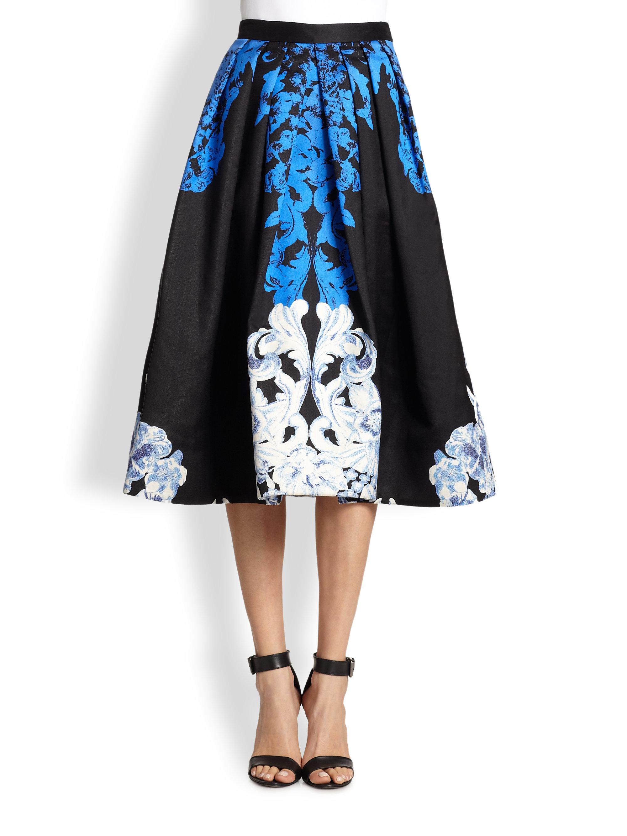 tibi rococo silk midi skirt in white black lyst