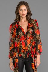 Tracy Reese Tie Neck Top in Orange - Lyst