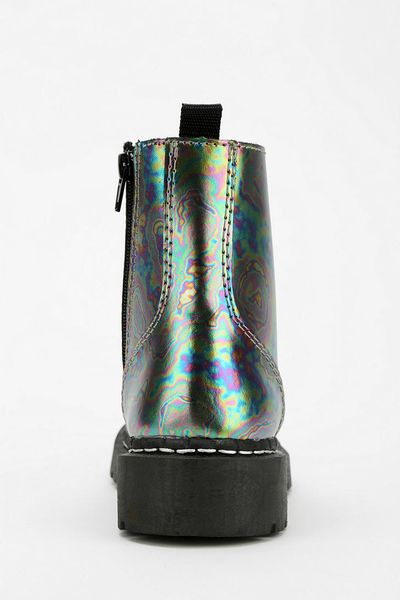 Urban Outfitters Tuk Oil Slick Combat Boot In Multicolor