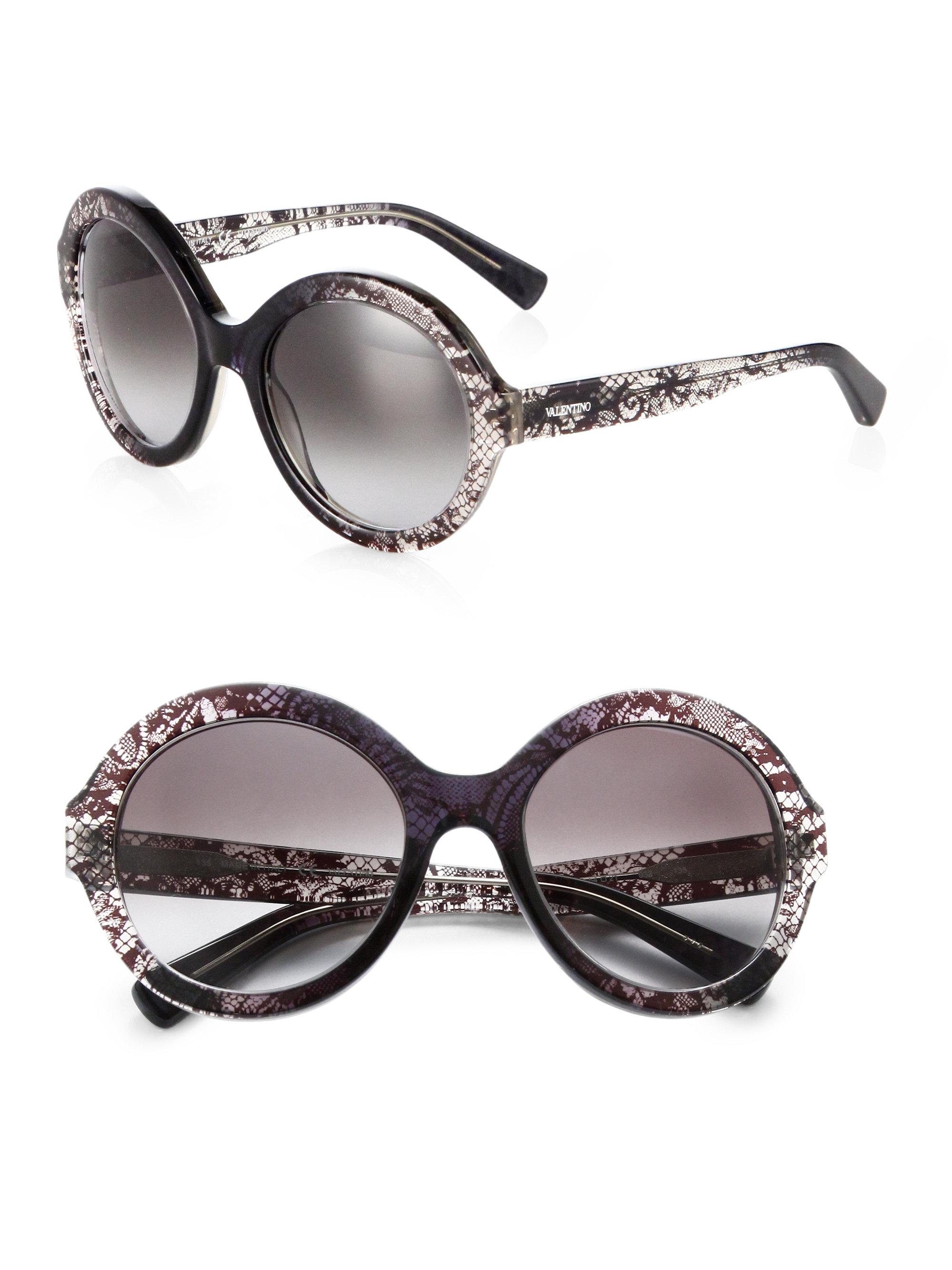 7e5712f3c90 Lyst - Valentino Oversized Round Lace Sunglasses in Gray