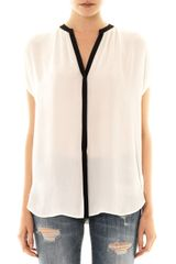 Vince Contrast Placket Blouse - Lyst
