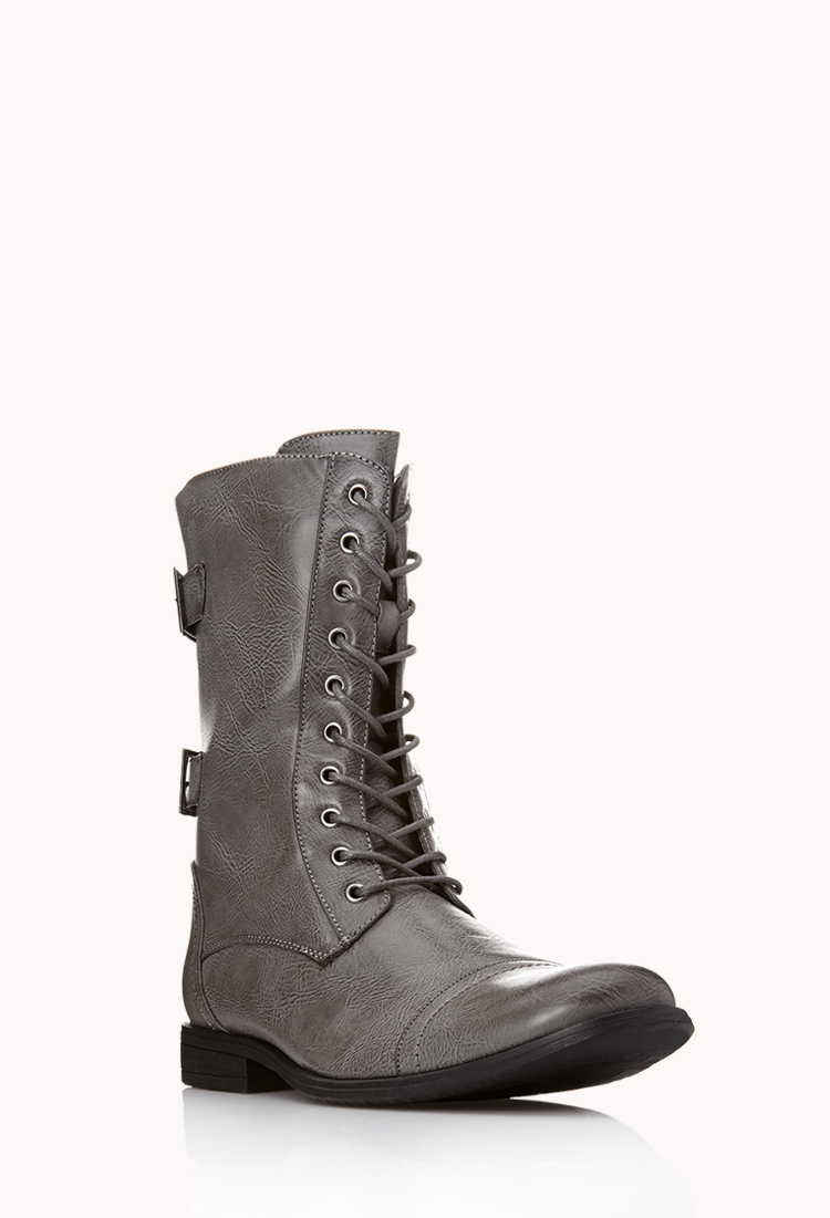Forever 21 Buckled Combat Boots in Gray for Men | Lyst