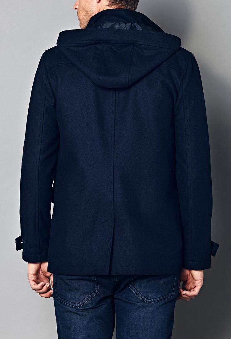 Forever 21 Wool-Blend Hooded Parka in Blue for Men | Lyst