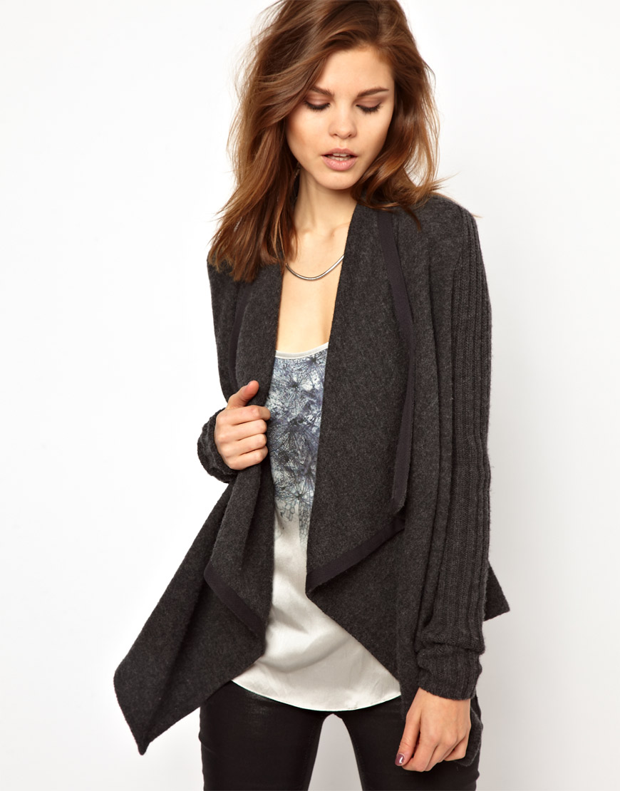 2nd day Masi Cardigan with Waterfall Front in Gray | Lyst